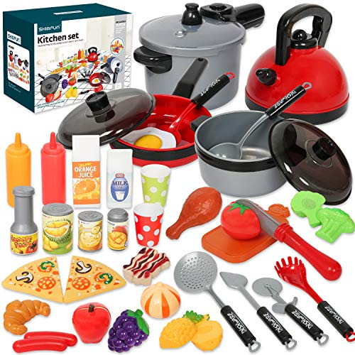 Shimfun Play Kitchen Accessories, 35Pcs Pretend Play Food & Cooking Toys for Toddlers, Kids Kitchen Playset...