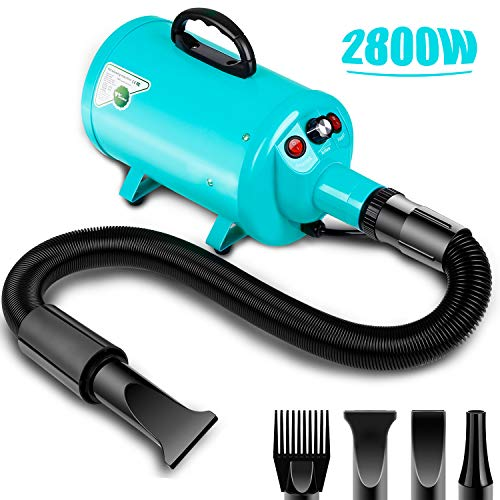 amzdeal Dog Dryer 2800W/3.8HP Stepless Adjustable Speed Dog Hair Dryer Dog Grooming Blower Pet Hair Force...