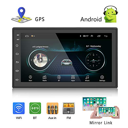 Podofo Car GPS Navigation Stereo - Double Din Android Head Unit with Bluetooth 7 inch LCD Touch Screen 1G +...