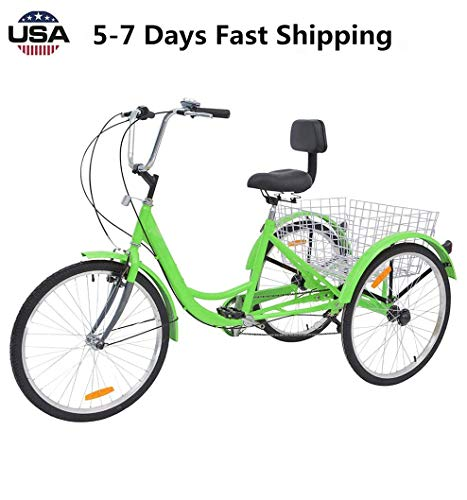 US Fast Shipment Adult Tricycles 7 Speed, Adult 24 Inch Mountain Trikes, 3 Wheel Bikes Bicycles Cruise Trike...