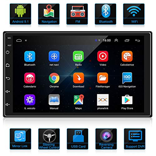 ANKEWAY 7 Inch Android 9.1 Car Stereo with HiFi+WiFi+Bluetooth+GPS+RDS+FM, 2021 New Double Din Car Radio 1080P...