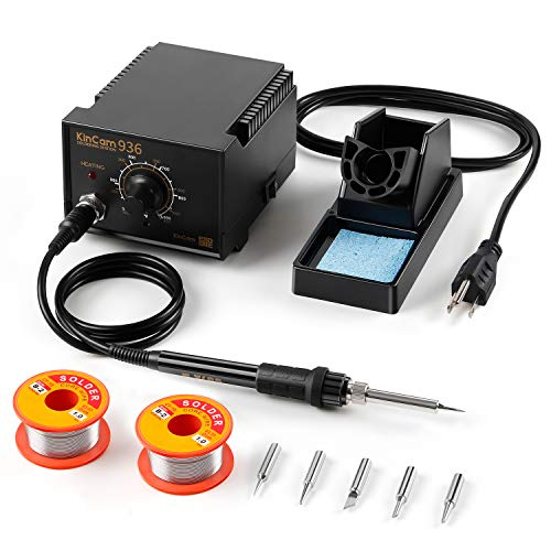 KinCam ESD Safe Soldering Iron Station with 2 Pack Solder Wire, Solder Holder and 5 Pcs Soldering Iron Tips,...