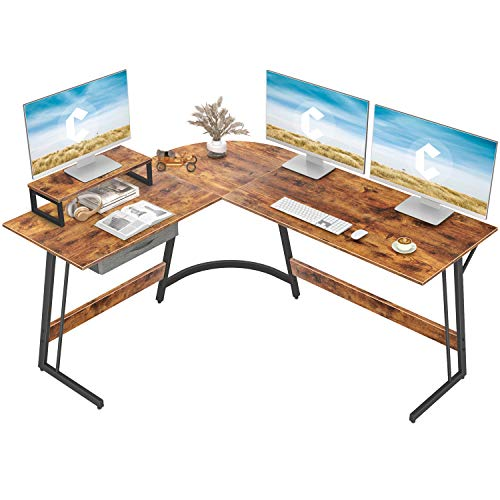 CubiCubi Modern L-Shaped Desk Computer Corner Desk, 59.1' Home Office Writing Study Workstation with Small...
