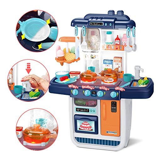 CUTE STONE Little Kitchen Playset, Kids Play Kitchen with Realistic Lights & Sounds,Simulation of Spray, Play...