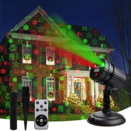 Christmas Laser Projector Lights, 8 Patterns Led Projection Lights with Remote, Landscape Projector...