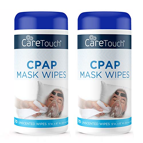 Care Touch CPAP Mask Cleaning Wipes - Unscented | 2 Packs of 70 Unscented Cleaning Wipes for CPAP Masks (140...