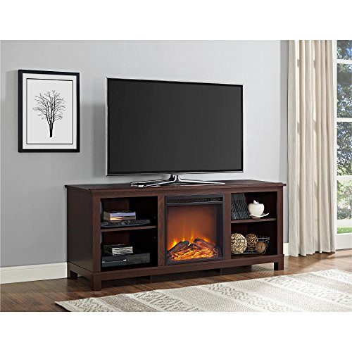 Ameriwood Home Edgewood TV Console with Fireplace for TVs up to 60', Espresso