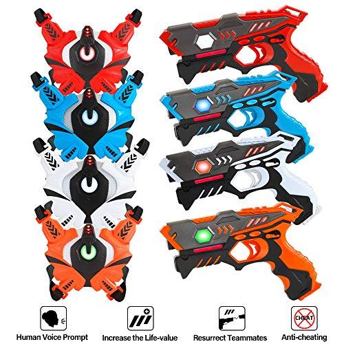 [UPGRADED] VATOS Infrared Laser Tag Gun Set for Kids Adults with Vests 4 Pack,Laser Tag Game 4 Players Indoor...