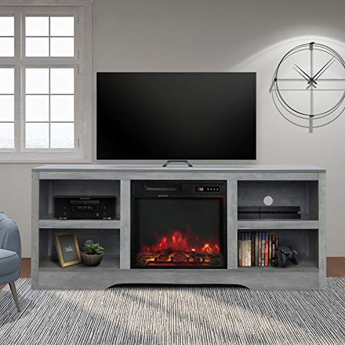58' TV Stand with Electric Fireplace,Fireplace Console,Storage Shelves Entertainment Center for Living...