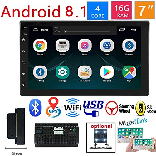 WZTO Double Din Car GPS Navigation Stereo, 7 inch Quad-Core Android 8.1 Touch Screen in Dash Navigation Car...