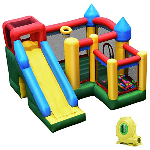 Giantex Mighty Inflatable Bounce House Castle Jumper Moonwalk Bouncer w/ 50 Pcs Ocean Balls, Carry Bag, Stakes...