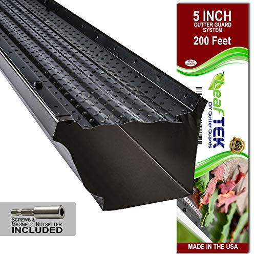 LeafTek 5' x 200' Gutter Guard Leaf Protection in Black | DIY Premium Contractor Grade 35 Year Aluminum Covers...