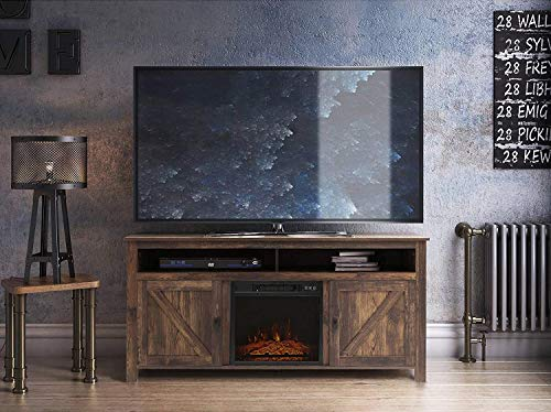 Fireplace TV Stand, Wood Entertainment Center, Wide Farmhouse Media Console Storage Cabinet for TVs Up to 55...
