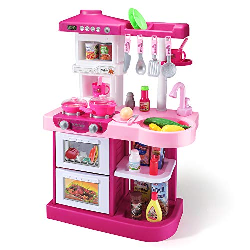 Temi Kitchen Playset Pretend Food - 53 PCS Kitchen Toys for Toddlers, Toy Accessories Set w/ Real Sounds and...