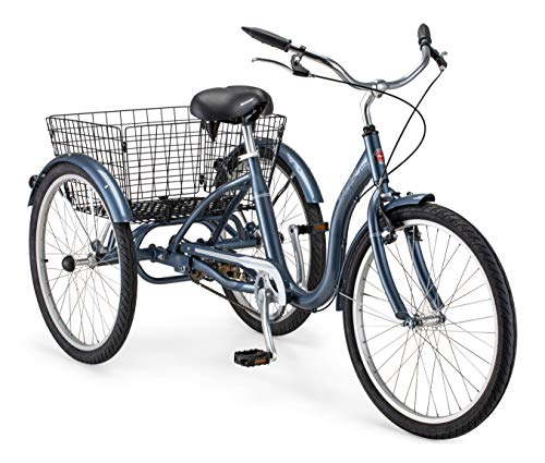 Schwinn Meridian Adult Tricycle with 24-Inch Wheels in Slate Blue, with Low Step-Through Aluminum Frame, Front...