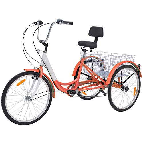 DoCred Adult Tricycles 7 Speed, Adult Trikes 26 inch 3 Wheel Bikes, Three-Wheeled Cruise Trike with Large...