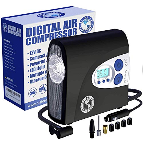 PI Auto Air Compressor - Portable, 12V, Digital Tire Inflator w/Pressure Gauge, Auto-Shut Off and LED Light to...