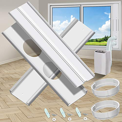 gulrear Dual Hose Portable Air Conditioner Window kit, Window Seal Plates for Portable AC Vent kit Adjustable...