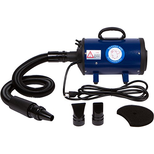 Flying Simple Dog Cat Pet Force Dryer with Heater by Flying Pig Grooming (Navy Blue)