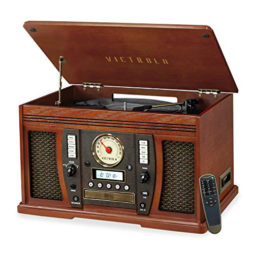 Victrola Aviator 8-in-1 Bluetooth Record Player & Multimedia Center with Built-in Stereo Speakers - 3-Speed...