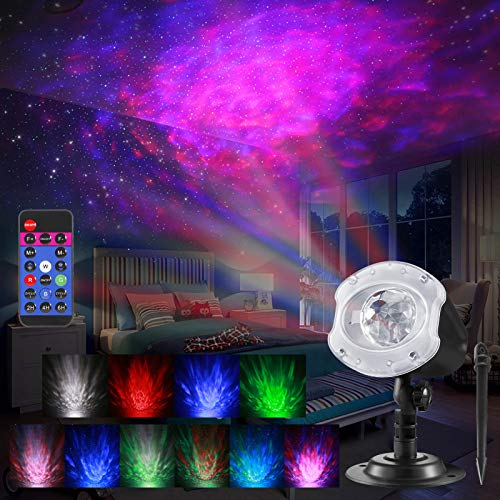 ALOVECO LED Laser Christmas Projector Lights, 2-in-1 RGBW 10 Color Changing Modes Ocean Wave Star Projector...