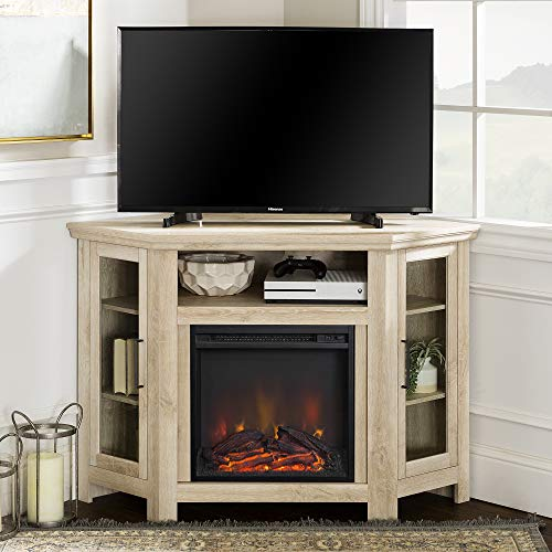 Walker Edison Furniture Company Tall Wood Corner Fireplace Stand for TV's up to 55' Flat Screen Living Room...