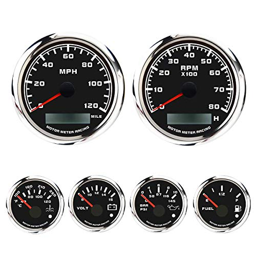 MOTOR METER RACING W Pro Series 6 Gauge Set GPS Speedometer Programmable Tachometer Waterproof Black Dial