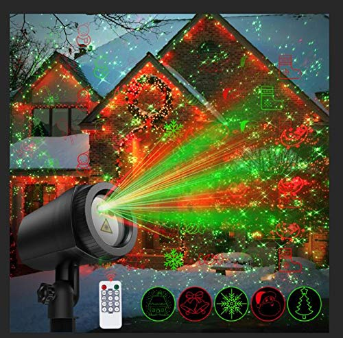 NUÜR Laser Projector Light with 24 Festive Patterns for Christmas & Party, IP65 Waterproof Projection Lamp...