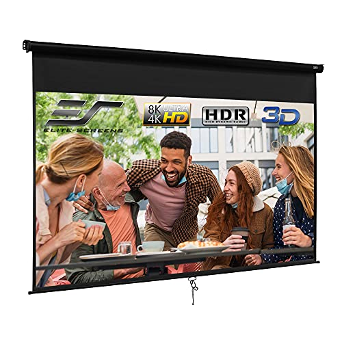 Elite Screens Manual B Series, 120-INCH Pull Down Projector Screen with Auto-Lock / Slow Retract Mechanism, 4K...