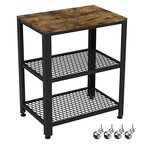 IRONCK Industrial Kitchen Cart 3-Tier, Rolling Serving Cart on Wheels with Storage, Microwave Cart for...