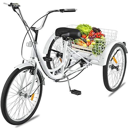 Adult Trike 1/7 Speed 3-Wheel, Three Wheel Cruiser Bike for Recreation, Shopping, Picnics Exercise Men's...