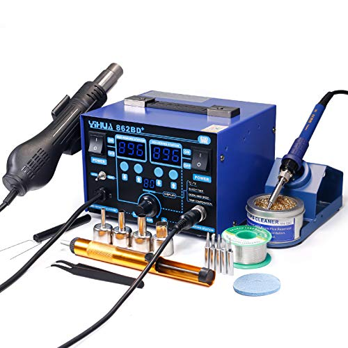 YIHUA 862BD+ SMD ESD Safe 2 in 1 Soldering Iron Hot Air Rework Station °F /°C with Multiple Functions