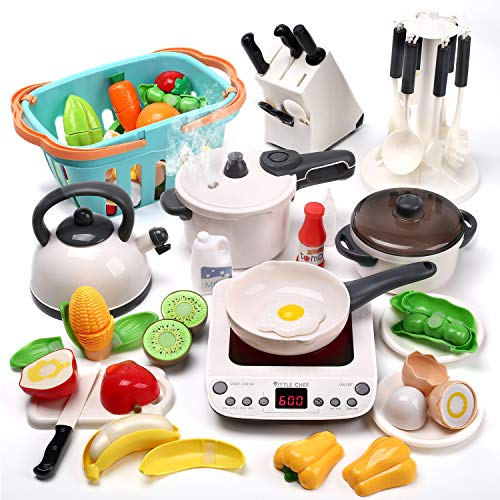 CUTE STONE Kitchen Play Toy with Cookware Playset Steam Pressure Pot and Electronic Induction Cooktop,Cooking...