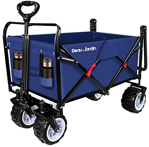 BEAU JARDIN Folding Push Wagon Cart 300 Pound Capacity Collapsible Utility Camping Grocery Canvas Fabric...