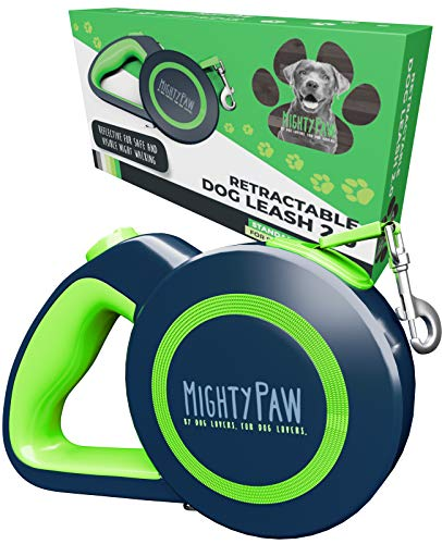 Mighty Paw Retractable Dog Leash 2.0 | 16' Heavy Duty Reflective Nylon Tape Lead for Pets Up to 110 LBS....