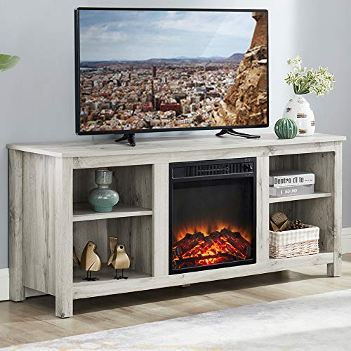GOOD & GRACIOUS Wooden TV Stand and Electric Fireplace, Fit up to 65' Flat Screen TV with Cabinet and...