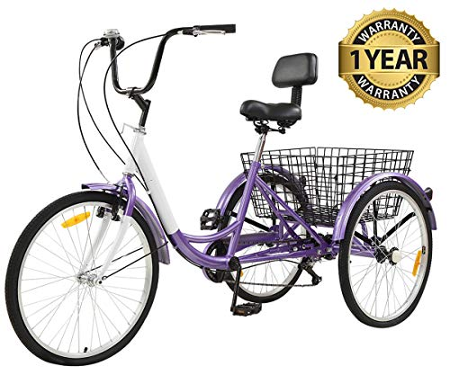 Sibosen Adult Tricycles 7 Speed, Adult Tricycle Trikes with 24/26 Inch Wheels, Three-Wheeled Bikes for Adults...