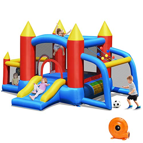 BOUNTECH Inflatable Bounce House, 6 in 1 Bouncer w/ Large Jumping Area, Slide, Including Carry Bag, Repair...