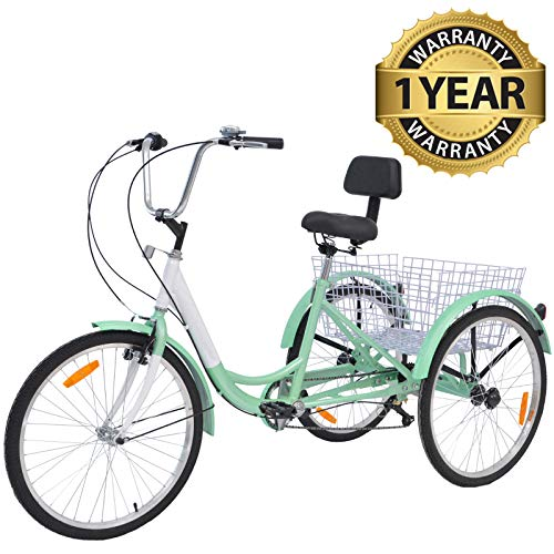Slsy Adult Tricycles 7 Speed, Adult Trikes 20/24 / 26 inch 3 Wheel Bikes, Three-Wheeled Bicycles Cruise Trike...