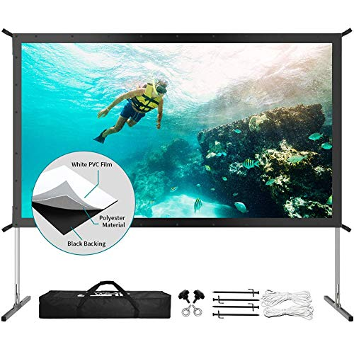 Projector Screen with Stand, Upgraded 3 Layers 120 inch 4K HD 16:9 Outdoor/Indoor Portable Front Projection...