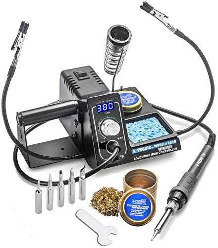 X-Tronic Model #3020 Digital LED 75 Watt Soldering Iron Station - 10 Minute Sleep Function, Auto Cool Down,...
