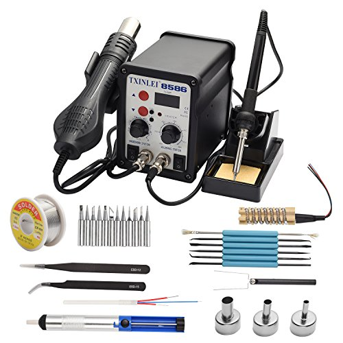TXINLEI 8586 110V Solder Station, 2 in 1 Digital Display SMD Hot Air Rework Station and Soldering Iron, 12pcs...
