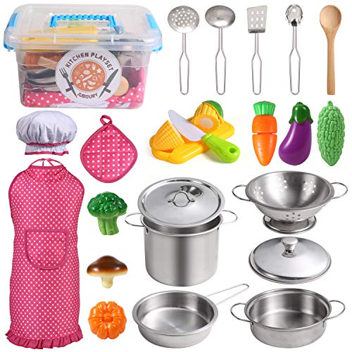 Juboury Kitchen Pretend Play Toys with Stainless Steel Cookware Pots and Pans Set, Cooking Utensils, Apron &...