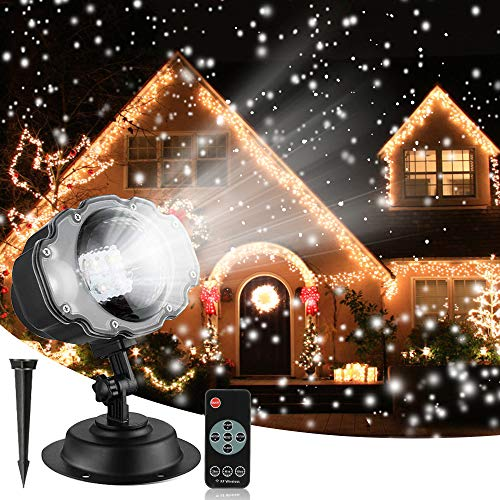Christmas Snowfall Projector Lights, Syslux Indoor Outdoor Holiday Lights with Remote Control Rotatable White...