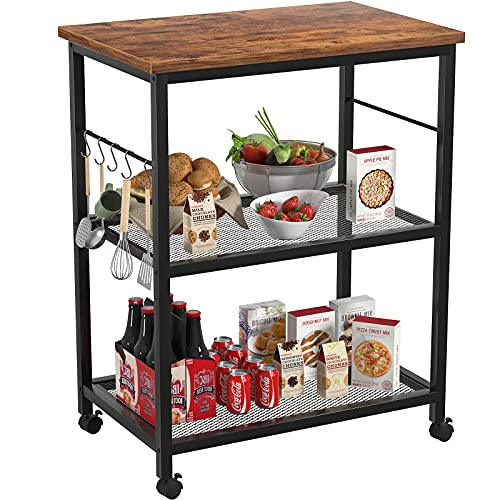 Topfurny Kitchen Baker's Rack, Microwave Cart, 3 Tier Utility Kitchen Serving Cart with Wheels, Microwave Oven...
