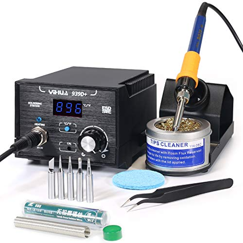 Yihua 939D+ Digital Soldering Station, 75W Equivalent with Precision Heat Control (392°F to 896°F) and...