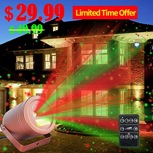 Christmas Laser Lights Outdoor Moving Star Projector Waterproof IP66 Decoration Red & Green Aluminum Laser...