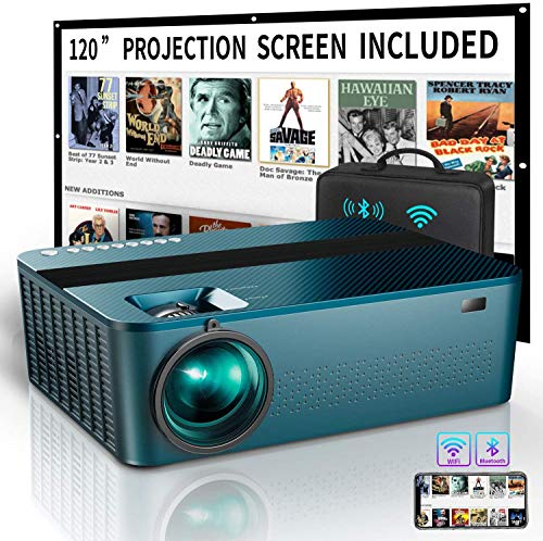 WIFI Native 1080P Projector with 120' Projector Screen &Bag,7500Lux HD Bluetooth Projector with 400'Display,4K...