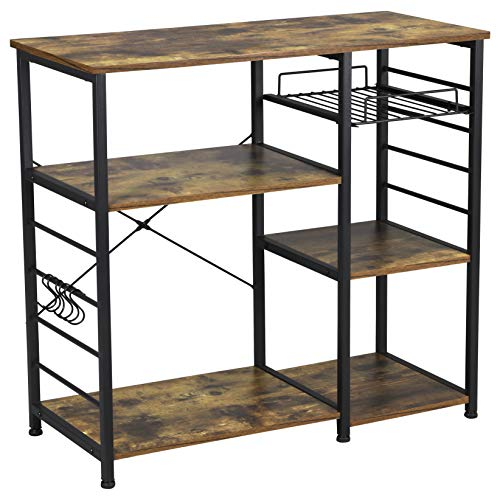 YAHEETECH 35.5 inches Microwave Cart Kitchen Baker's Rack Utility Oven Stand Shelf Storage Cart 3-Tier...