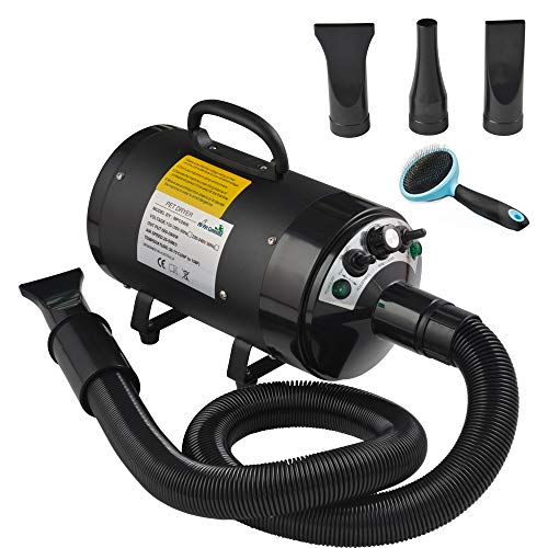 My Pet Command 110V Dog Hair Dryer Professional High Velocity Blower 500W-2800W 4HP Hot and Cold Adjustable...